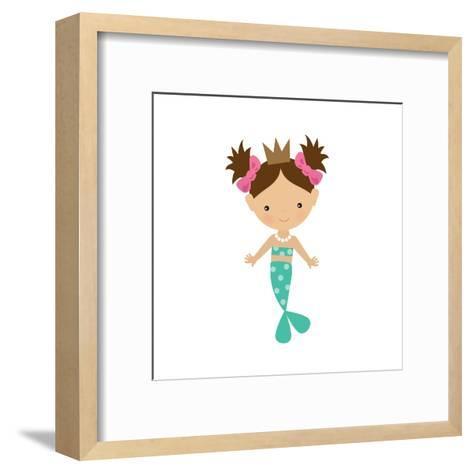 Mermaid,Girl,Cute,Funny,Vector,Cartoon,Illustration-Svetlana Peskin-Framed Art Print