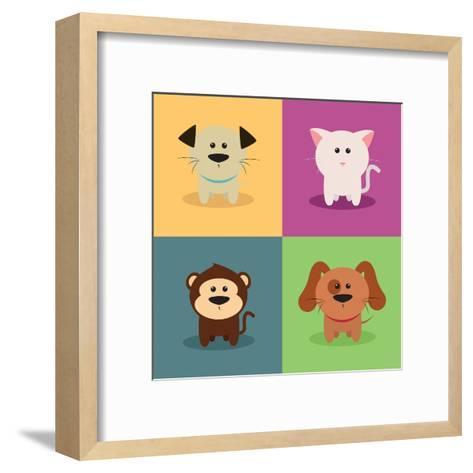 Cute Cartoon Animals-Nestor David Ramos Diaz-Framed Art Print