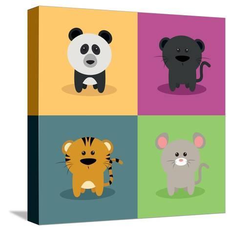 Cute Cartoon Animals-Nestor David Ramos Diaz-Stretched Canvas Print