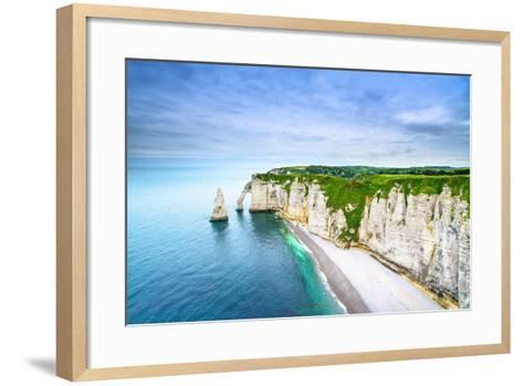 Etretat Aval Cliff, Rocks and Natural Arch Landmark and Blue Ocean-stevanzz-Framed Art Print