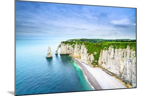 Etretat Aval Cliff, Rocks and Natural Arch Landmark and Blue Ocean-stevanzz-Mounted Photographic Print