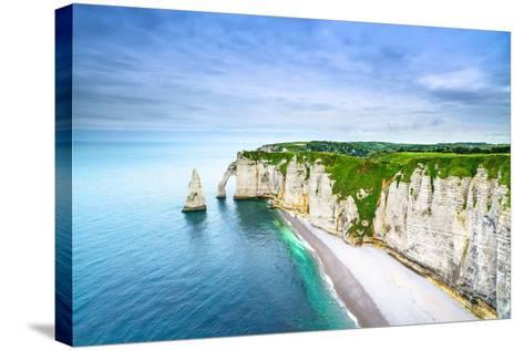 Etretat Aval Cliff, Rocks and Natural Arch Landmark and Blue Ocean-stevanzz-Stretched Canvas Print