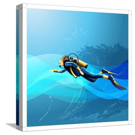 Scuba Diver Girl- Conceptcafe-Stretched Canvas Print