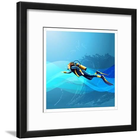 Scuba Diver Girl- Conceptcafe-Framed Art Print