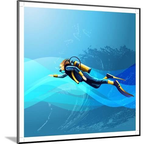 Scuba Diver Girl- Conceptcafe-Mounted Art Print
