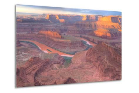 Orange Colorado River, Dead Horse Point, Utah Colored Water from Red Soil Runoff-Tom Till-Metal Print