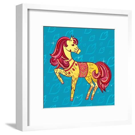 Cute Fairy Tale Pony Character in Sketch Style on Blue for Children and Baby Design-Anna Komissarenko-Framed Art Print