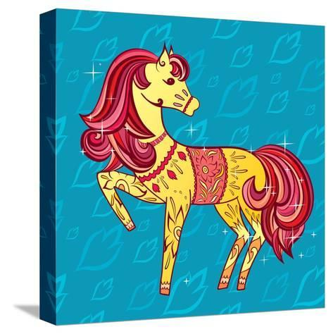 Cute Fairy Tale Pony Character in Sketch Style on Blue for Children and Baby Design-Anna Komissarenko-Stretched Canvas Print