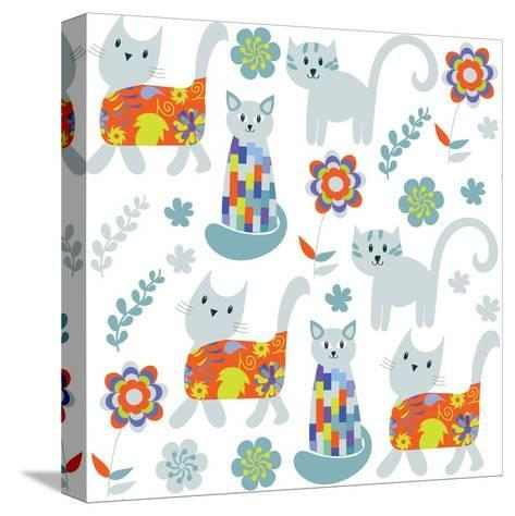 Cute Cats Seamless Pattern and Seamless Pattern in Swatch Menu, Image-Luiza Kozich-Stretched Canvas Print