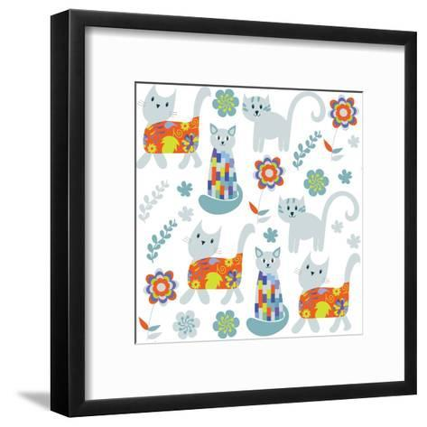 Cute Cats Seamless Pattern and Seamless Pattern in Swatch Menu, Image-Luiza Kozich-Framed Art Print