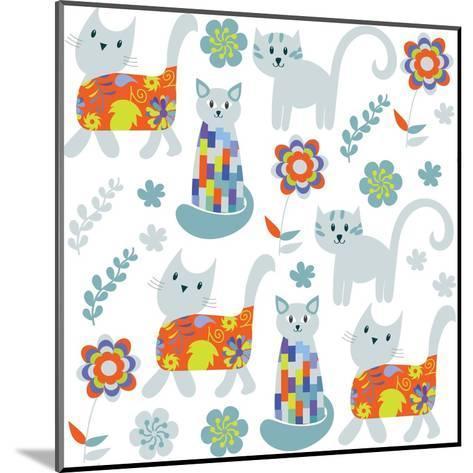 Cute Cats Seamless Pattern and Seamless Pattern in Swatch Menu, Image-Luiza Kozich-Mounted Art Print