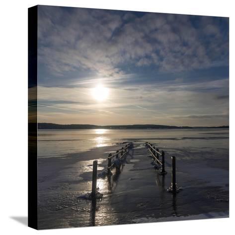 Pier under Water in Winter- Wisslaren-Stretched Canvas Print