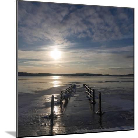 Pier under Water in Winter- Wisslaren-Mounted Photographic Print