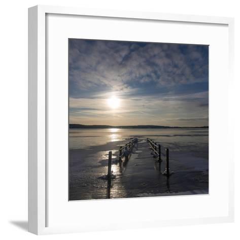 Pier under Water in Winter- Wisslaren-Framed Art Print