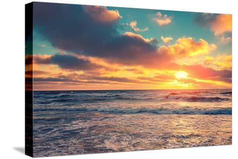 Sea Shore at Sunset with Cloudy Sky-vvvita-Stretched Canvas Print