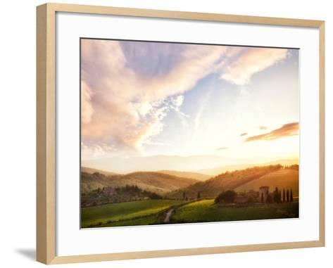 Picturesque Tuscany Landscape at Sunset, Italy-Markus Schieder-Framed Art Print