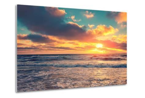 Sea Shore at Sunset with Cloudy Sky-vvvita-Metal Print