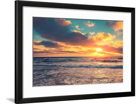 Sea Shore at Sunset with Cloudy Sky-vvvita-Framed Art Print