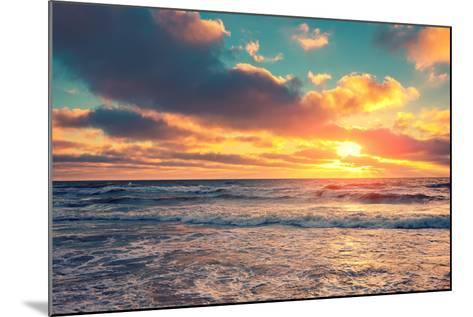 Sea Shore at Sunset with Cloudy Sky-vvvita-Mounted Photographic Print