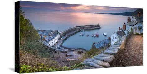 Clovelly Harbour-Terry Mathews-Stretched Canvas Print