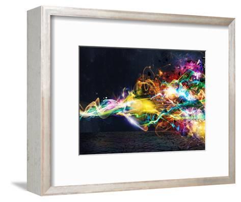 Modern Abstract Motion Banner on Dark-Federico Caputo-Framed Art Print