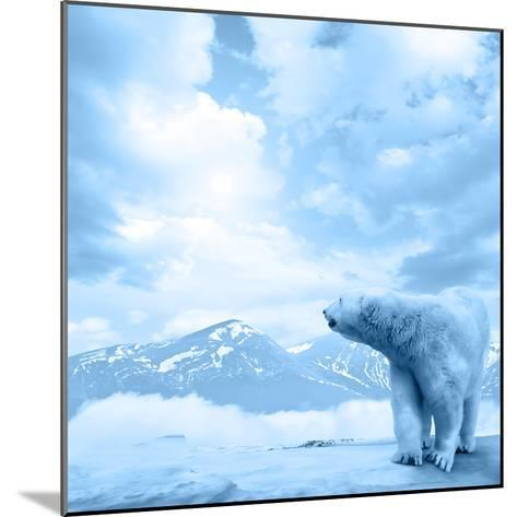 Figure of a Polar Bear on High Mountain Landscape-Oleksii Sergieiev-Mounted Photographic Print