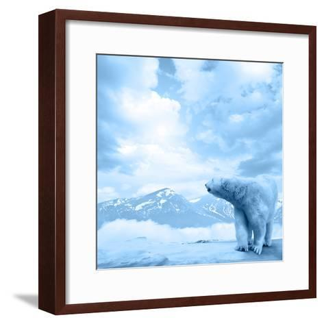 Figure of a Polar Bear on High Mountain Landscape-Oleksii Sergieiev-Framed Art Print