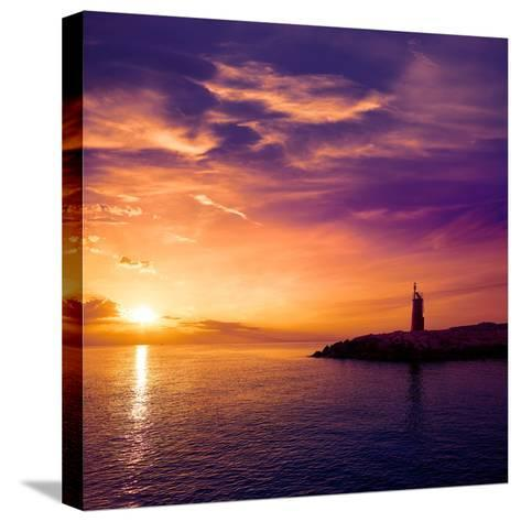 Denia Sunset Lighthouse at Dusk in Alicante at Spain-Natureworld-Stretched Canvas Print