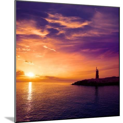 Denia Sunset Lighthouse at Dusk in Alicante at Spain-Natureworld-Mounted Photographic Print