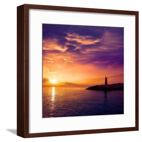 Denia Sunset Lighthouse at Dusk in Alicante at Spain-Natureworld-Framed Art Print