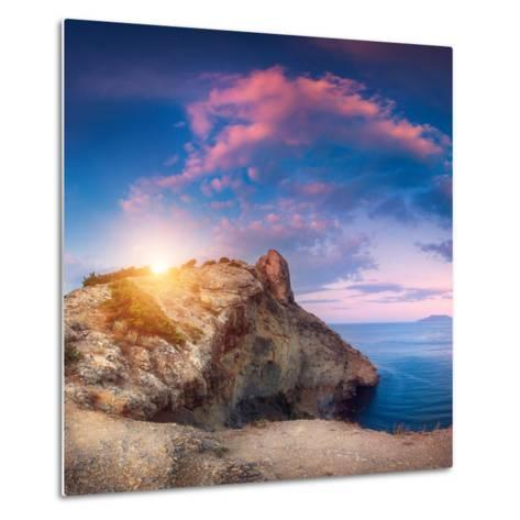 Mountain Landscape with Colorful Blue Sky with Purple Clouds, Sun and Sea at Sunset in Crimea-Denys Bilytskyi-Metal Print