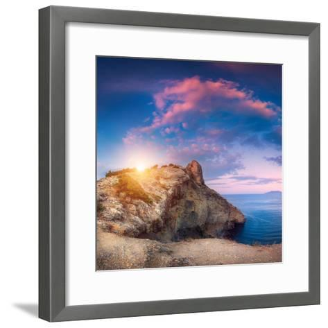 Mountain Landscape with Colorful Blue Sky with Purple Clouds, Sun and Sea at Sunset in Crimea-Denys Bilytskyi-Framed Art Print