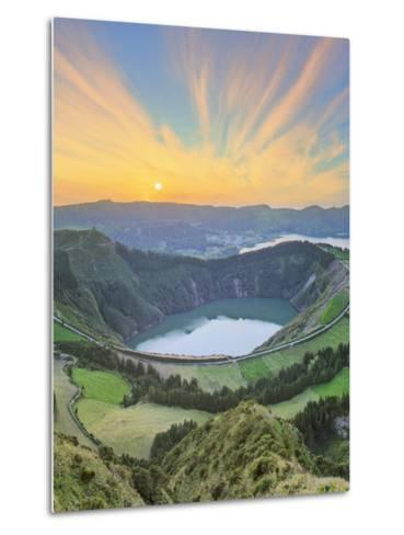 Mountain Landscape with Hiking Trail and View of Beautiful Lakes, Ponta Delgada, Portugal-Hanna Slavinska-Metal Print