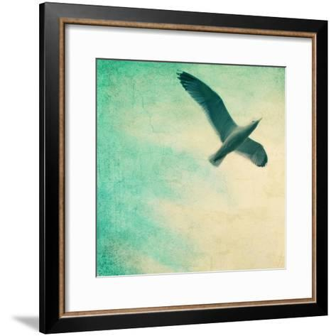 Close-Up of a Gull Flying in a Texturized Sky-Trigger Image-Framed Art Print