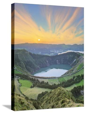 Mountain Landscape with Hiking Trail and View of Beautiful Lakes, Ponta Delgada, Portugal-Hanna Slavinska-Stretched Canvas Print