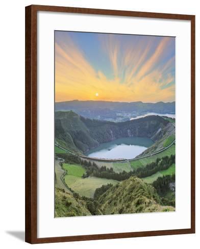 Mountain Landscape with Hiking Trail and View of Beautiful Lakes, Ponta Delgada, Portugal-Hanna Slavinska-Framed Art Print