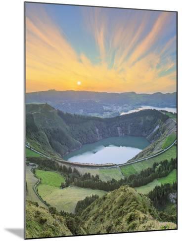 Mountain Landscape with Hiking Trail and View of Beautiful Lakes, Ponta Delgada, Portugal-Hanna Slavinska-Mounted Photographic Print