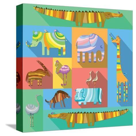 Flat Icons with African Animals-Evgeniya Balala-Stretched Canvas Print