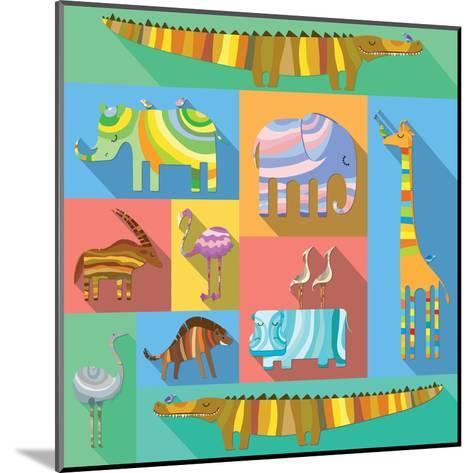 Flat Icons with African Animals-Evgeniya Balala-Mounted Art Print