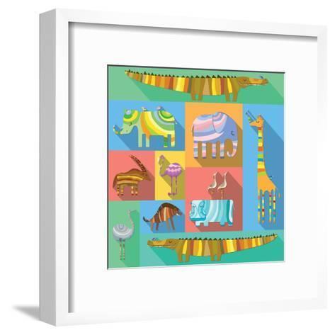 Flat Icons with African Animals-Evgeniya Balala-Framed Art Print
