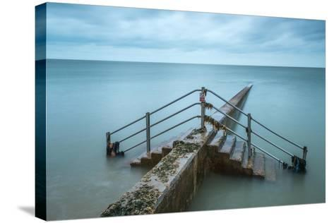 Groyne at Minnis Bay in Kent-Michael Fenton-Stretched Canvas Print