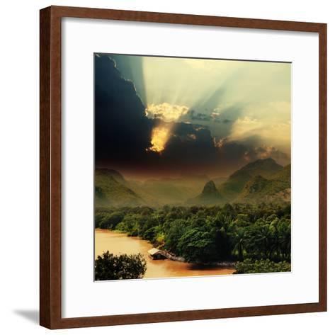 Rays on Sky over Khwae Yai River Which Is in Thailand-Sergiy Serdyuk-Framed Art Print