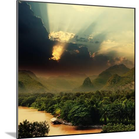 Rays on Sky over Khwae Yai River Which Is in Thailand-Sergiy Serdyuk-Mounted Photographic Print