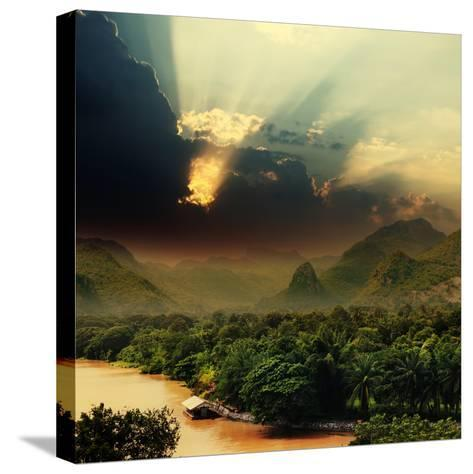 Rays on Sky over Khwae Yai River Which Is in Thailand-Sergiy Serdyuk-Stretched Canvas Print