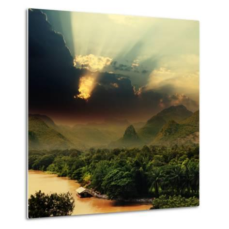 Rays on Sky over Khwae Yai River Which Is in Thailand-Sergiy Serdyuk-Metal Print
