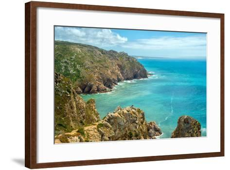 Coast of Portugal, Cape Cabo Da Roca - the Westernmost Point of Europe. Picturesque Rocks-Artem Merzlenko-Framed Art Print