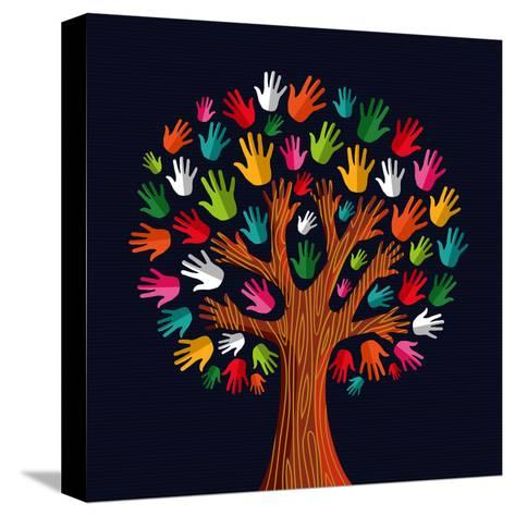 Colorful Diversity Tree Hands Illustration-Cienpies Design-Stretched Canvas Print