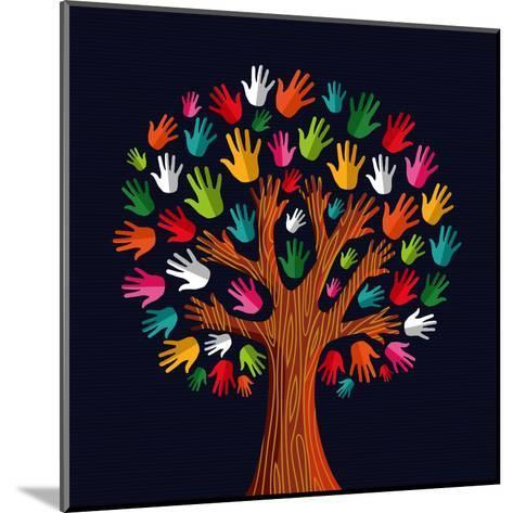 Colorful Diversity Tree Hands Illustration-Cienpies Design-Mounted Art Print