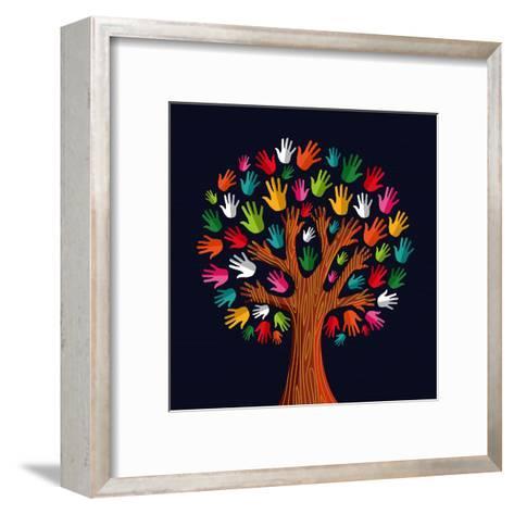 Colorful Diversity Tree Hands Illustration-Cienpies Design-Framed Art Print