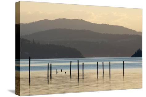 Coeur D'Alene Lake at Dusk-Nick Dale-Stretched Canvas Print